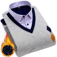 winter thick smart casual Shirt Men Plus Size 4XL Brand Mens warm waistcoat Shirt Long Sleeve Male dress Shirt with velet