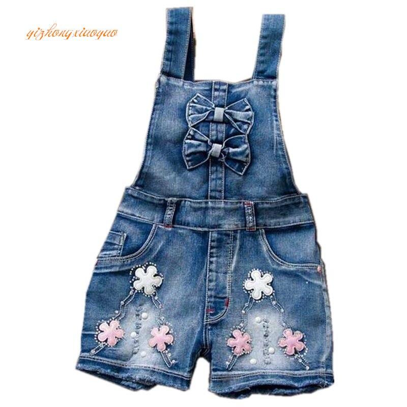 2017 Lente Zomer Meisje Jumpsuit Leuke Zoete Mode Gewassen Jeans Denim Romper Jumpsuits Bandjes Korte Broek Cowboy Blauw