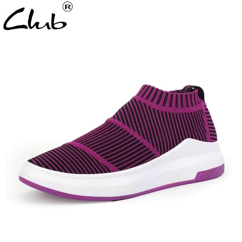 Club Fashion Sneakers Women 2018 New Flat Soft Comfortable Fashion Casual Shoes Woman High Elastic Fabric Upper Women Shoes women s shoes 2017 summer new fashion footwear women s air network flat shoes breathable comfortable casual shoes jdt103