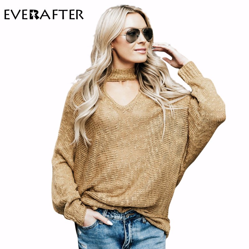 EVERAFTER 2018 Autumn Winter Sweater Woman Solid Sexy Hollow out Loose Tops Casual Women Pull Knitting Pullovers Sweater New Hot
