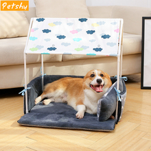 Petshy Washable Home Shape Dog Bed Sofa Cute Warm Puppy Cat Tent Kennel Removable Cozy Dogs House Small Animals Nest