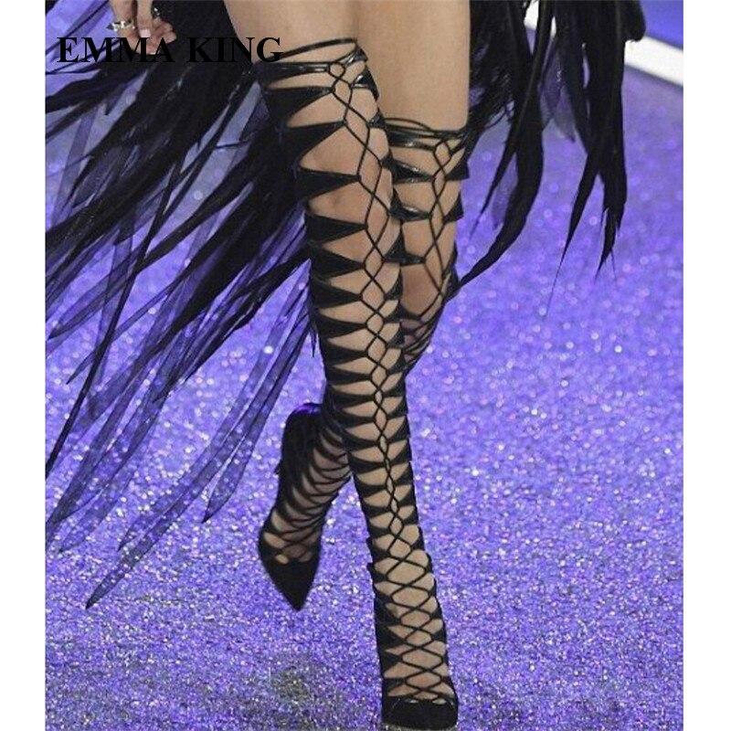 Le Femmes 2018 Suède Bottes Plus Piste Gladiateur out Haute Genou Romain Cut Partie Noir Cuisse Chaussures Robe Conception Talons q4wPrCqUx