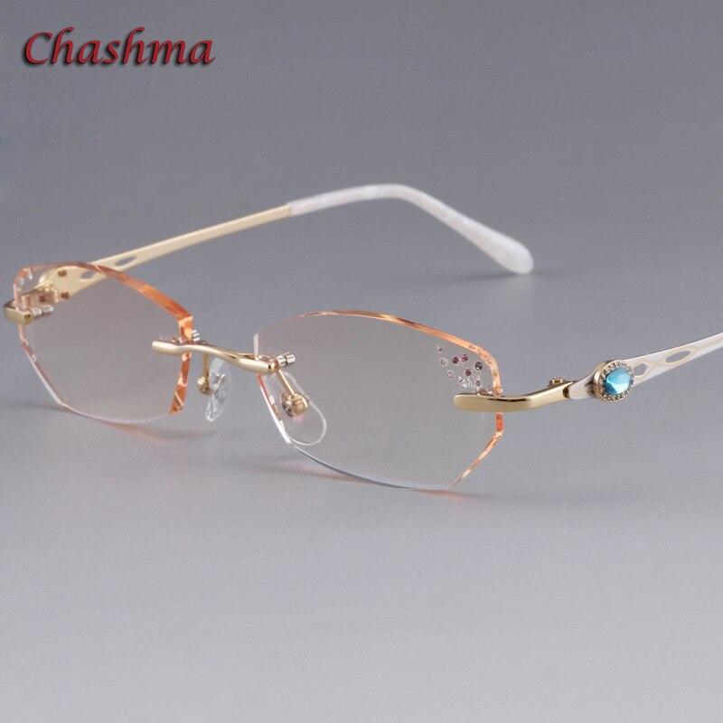 cf7de9a8afff26 Tchachma Marque Lentilles Colorées Mode Lunettes Cadre lunette de vue femme  Sans Monture En Titane armação