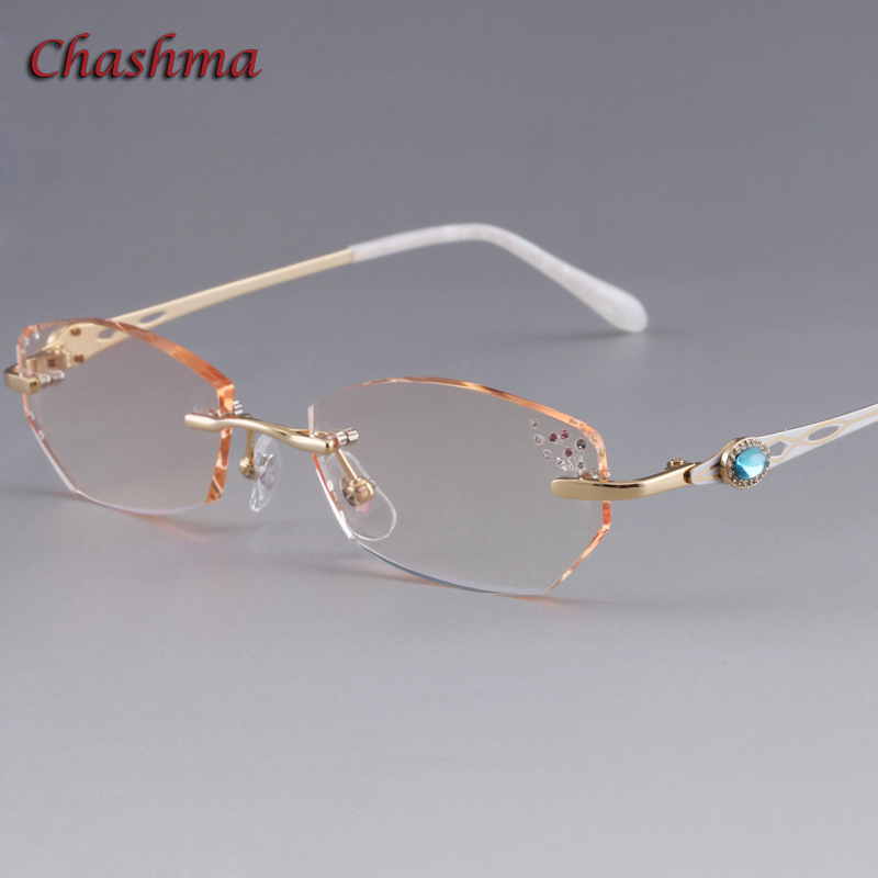 Chashma Brand Colored Lenses Fashion Glasses Frame lunette de vue femme Rimless Titanium armacao para oculos de grau feminino in Women 39 s Eyewear Frames from Apparel Accessories