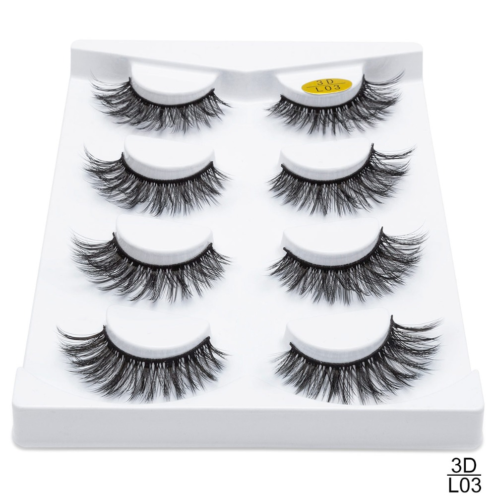 <font><b>2</b></font>/4 <font><b>Pairs</b></font> Natural False <font><b>Eyelashes</b></font> Fake Lashes Long Makeup 3d Mink Lashes <font><b>Eyelash</b></font> Extension Mink <font><b>Eyelashes</b></font> For Beauty G0226 image