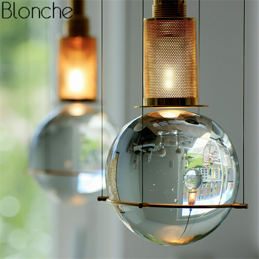 Post-modern Led Crystal Pendant Lights Hanglamp Ball Hanging Lamp for Kitchen Home E27 Industrial Decor Light Fixtures Luminaire