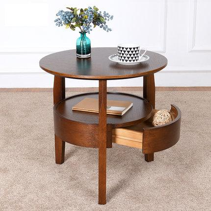 Coffee table Small round table Wooden living room Simple sofa side table with drawer tea table simple round modern corner several side of the living room phone table sofa small coffee table small table