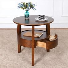 Coffee table Small round table Wooden living room Simple sofa side table with drawer tea table Nordic simple side table стоимость