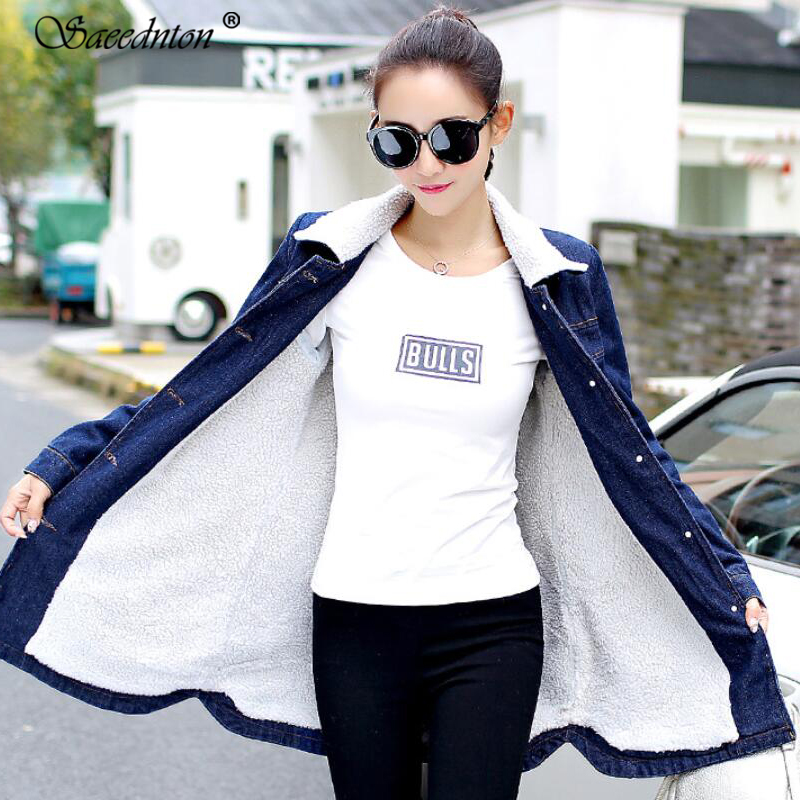 Women Coat Large Size 2018 New Winter Women's Clothing Large Size 5XL Long Denim   Trench   coats Female Lamb Fur Slim Windbreaker