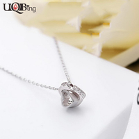 S925 Sterling Silver Women Necklaces Fashion Wholesale Double Heart Crystal Pendant Necklaces Jewelry