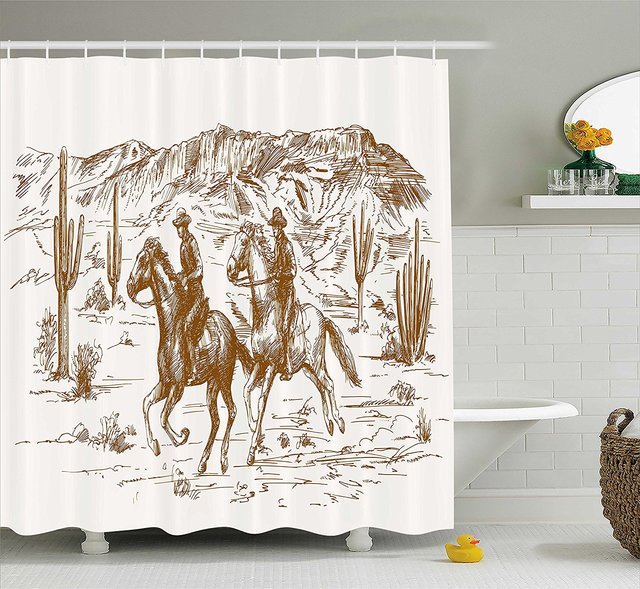 Western Shower Curtain Country Theme Hand Drawn Illustration Of American Wild West Desert With Cowboys Decor Set Hooks