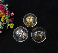 100sets 25mm transparent Glass Bubble Vial Two Hole Open & Flower Beads Cap & Eye Pin& DIY Glass Vial Pendant necklace jewelry