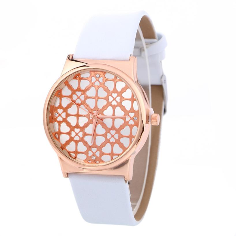 Watches Women Fashionable Mesh Pattern Simple PU Leather Strap Quartz Analog Gifts my29