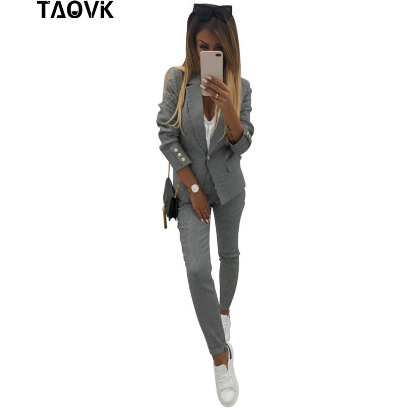 TAOVK Chic Women s Small Plaids Suits Bussiness Pant Suits Single Button 2 Pockets Blazer Lined