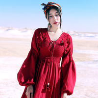 MX160 New Arrival burgundy bohemian empire long sleeve maxi lace appliaque vintage cotton and linen dress 2017