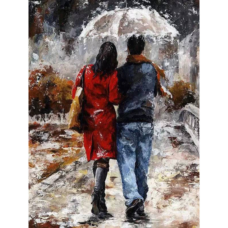 Frameless Romantic Lover Holding Umbrella Paintings by Numbers on Canvas Wall Art Decoration Pictures Kids Gift Poster Prints