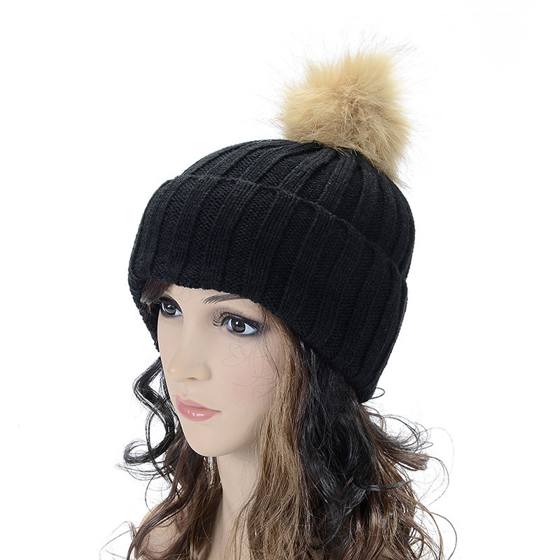 New Hat Female Classic Knitted Faux Fur Pom Poms Women Cap Headdress Head  Warmer Women s Winter 61b9595d7cd8