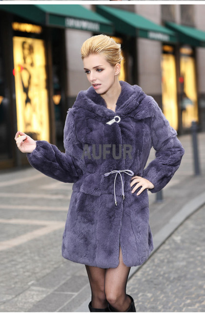 Genuine Rex Rabbit Fur Coat Hooded Elegant Women Parka Graceful Real Rabbit Fur Outwear Hoody Long Overcoat Solid Color AU00053