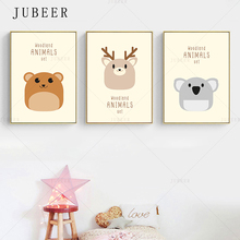 Cute Woodland Animal Poster And Prints Deer Bear Canvas Painting Children Baby Bedroom Wall Art Posters Decoration Home Decor