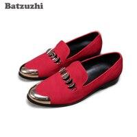 Batzuzhi/дизайнерская мужская обувь с металлической кепкой; красные мужские лоферы; модельные туфли без застежки; Мужская обувь для вечеринки и