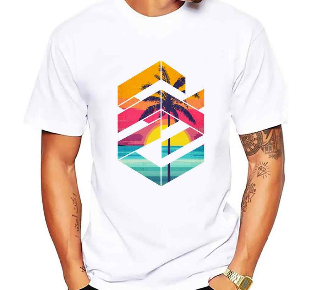 Fashion Geometric Sunrise beach design Printed Men T shirt Short Sleeve Casual t-shirt Hipster Fractal Pattern tees Cool Tops