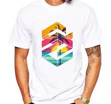 Fashion Geometric Sunrise beach design Printed Men T shirt Short Sleeve Casual t-shirt Hipster Fractal Pattern tees Cool Tops(China)