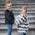 Buenos Ninos Girls Autumn Luxury Faux Fur Coats & Jackets White with Black Striped Patchwork Brand Fashion Jacket 15