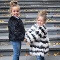 Buenos Ninos Niñas Otoño Abrigos y Chaquetas de Piel Sintética de Lujo Blanca con Rayas Negro Patchwork Marca de Moda Chaqueta de 15