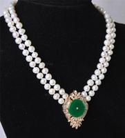 Beautiful 2Rows White Pearl Green Jadeite Pendant Necklace