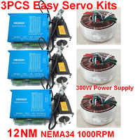 3PCS NEMA34 86mm 12Nm 1714Oz-in Closed Loop Hybrid Stepper Motor Drive 300W Power Supply Kit Easy Servo for CNC With Cooling Fan