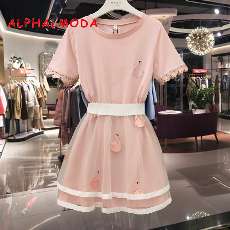 ALPHALMODA Embroidered Swan Tshirt Skirg Suit 2019 Summer Women Sweet Pink Blue 2pcs