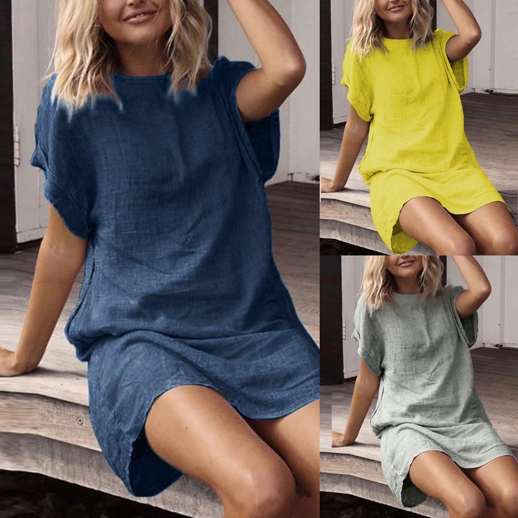 Vestidos Verao Women Summer Casual Solid Short Sleeve Dress Crew Neck Linen Dress Women Summer Dress Vestidos Femininos