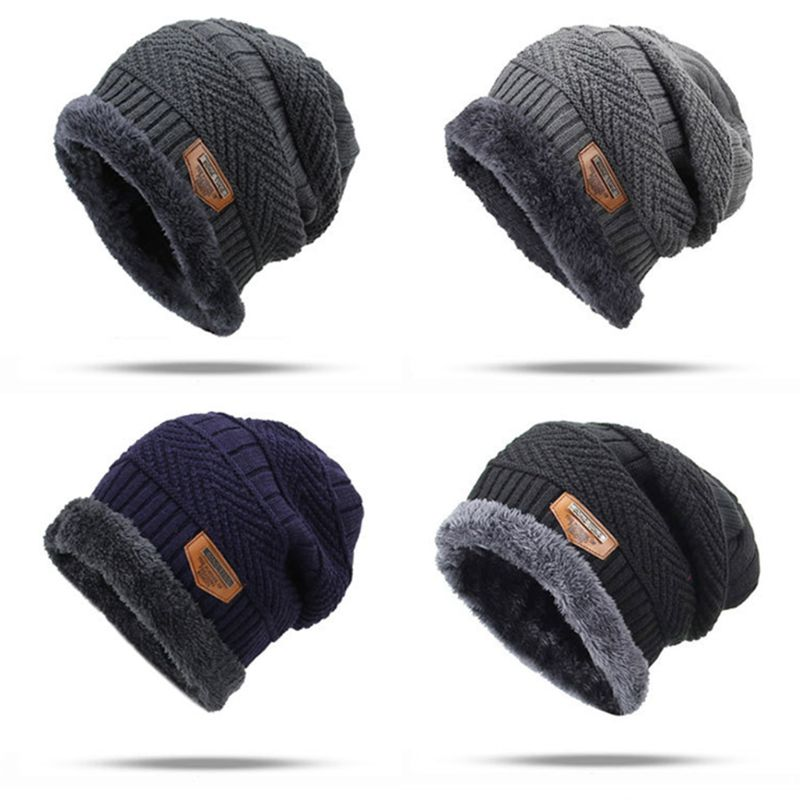 Men Unisex Winter Geometric Cable Knitted Hat Slouchy Jacquard Crochet Solid   Beanie   Cap Thick Fleece Lining Baggy Ear Warmer 6 C
