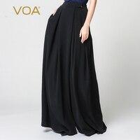 VOA тяжелый шелк плюс Размеры свободные брюки однотонные черные Повседневное Широкие штаны Высокая талия брюк Для женщин Винтаж Pantskirt K7318