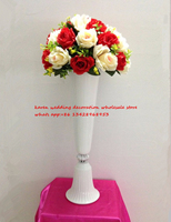 57cm height white metal candle holder candle stand wedding centerpiece event road lead flower rack event vase 10pcs / lot