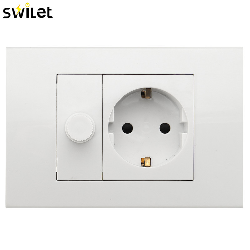 цена на SWILET EU Standard Plug Wall Socket Charger Port Outlets White Plate With Dimming Speed Control Single Plug Switch 110X82mm