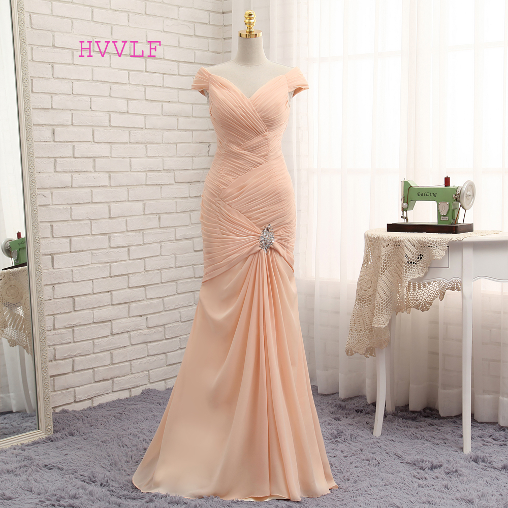HVVLF Champagne   Evening     Dresses   2019 Mermaid Cap Sleeves Chiffon Chiffon Pleated Long   Evening   Gown Prom   Dress   Prom Gown