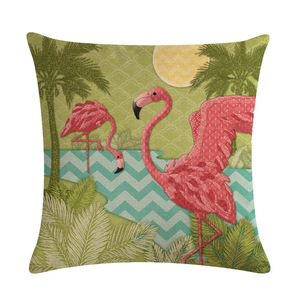 Image 4 - 漫画フラミンゴ鳥ピンククッションカバーグリーン熱帯植物プリントリネン枕ケース地中海装飾車ホームルーム
