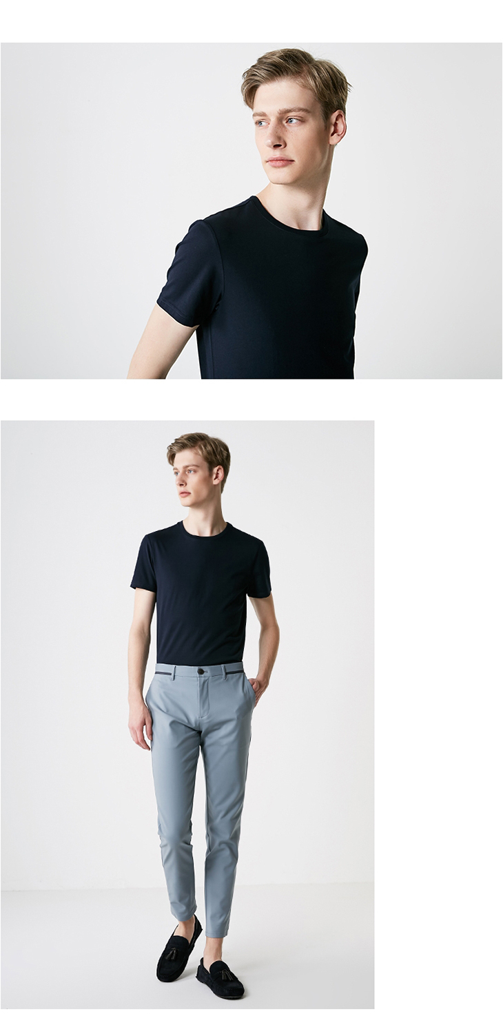 Men's Summer 100% Cotton Pure Color Round Neckline Short-sleeved T-shirt 34