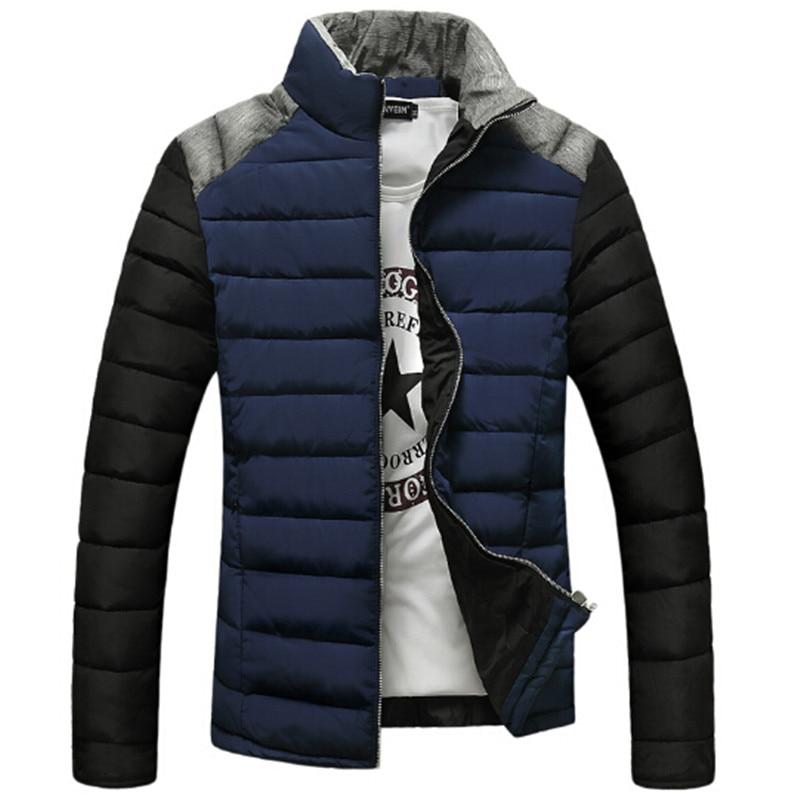 ФОТО 2017 Men's Cotton Jacket Stand Collar Fashion Patchwork Thick Down Jacket Slim High Quality Cotton Warm Parka Men