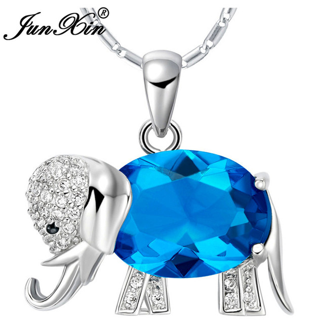 0d479535b9 JUNXIN Women Blue Elephant Necklace New Fashion Wedding Animal Jewelry 925  Sterling Silver Filled Necklaces Pendants Gifts