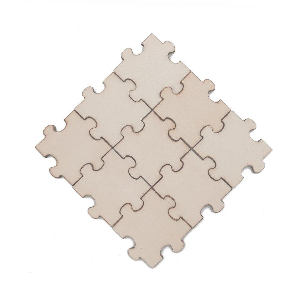 50 шт в наборе, незаконченные деревянные головоломки с точными вырезами натуральное дерево куски DIY Изделия из дерева квадратный Паззл из де...