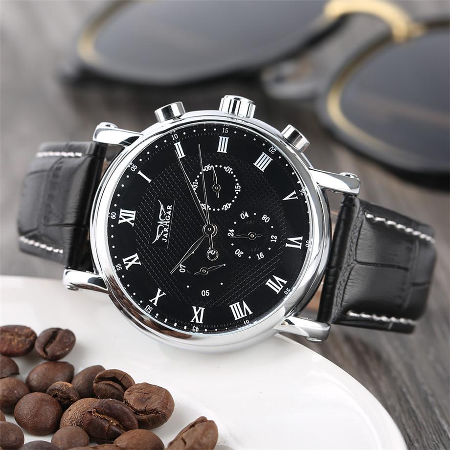 JARAGAR black genuine leather band mechanical watch men09