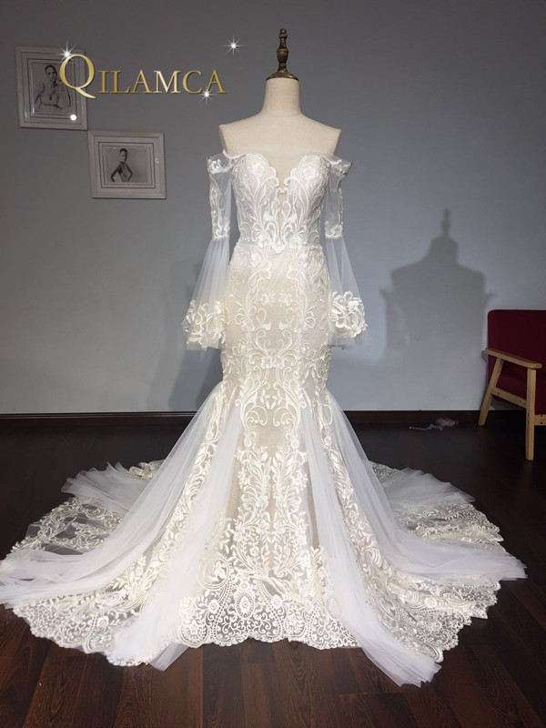 Fashionable Lace Mermaid Wedding Dress 2018 Champagne Vestido De Casamento See Through Backless Vintage Wedding Gowns
