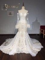 Modna Koronkowa Suknia Ślubna 2018 Mermaid Champagne Vestido De Casamento Przepuszczalność Backless Suknie Ślubne W Stylu Vintage