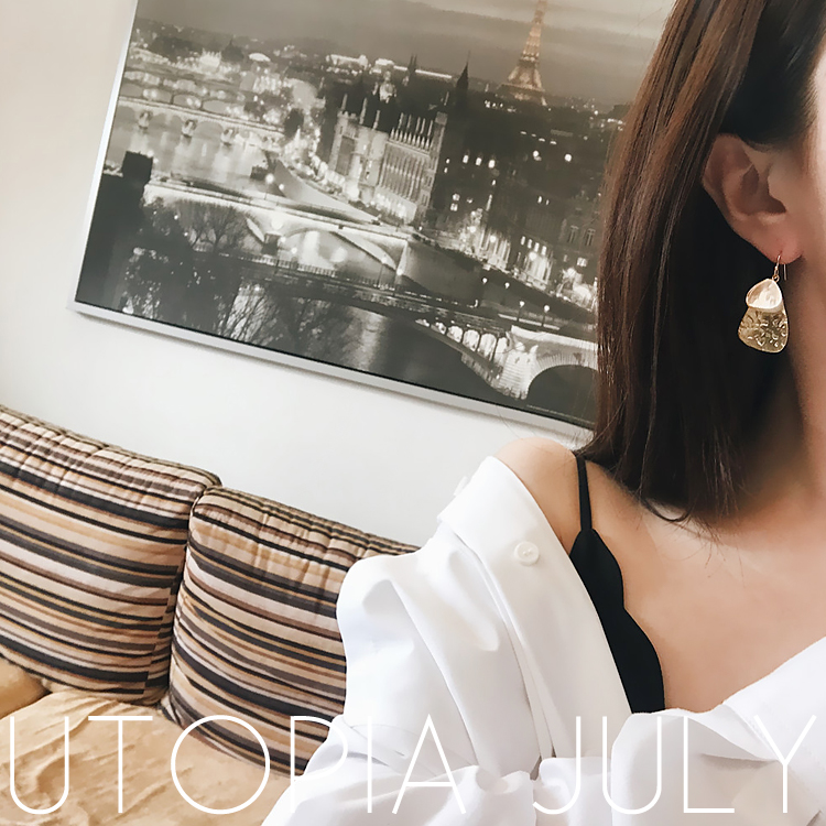 AOMU Korea New Design Pearl Matte Metal Geometric Big Round Circle Shell Long Drop Earrings For Women Beach Boho Jewelry 4
