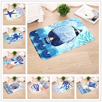 Flannel Carpet Mediterranean Style 40x60cm 1pc/lot Octopus Home Decoration Floor Mats Carpets For Living Room Bedroom Doormat