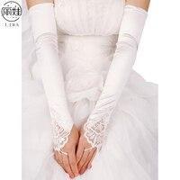 5 Colors Wedding Gloves Fingerless Long To The Elbow Statin Beades Gants Dentelle For Bride Wedding