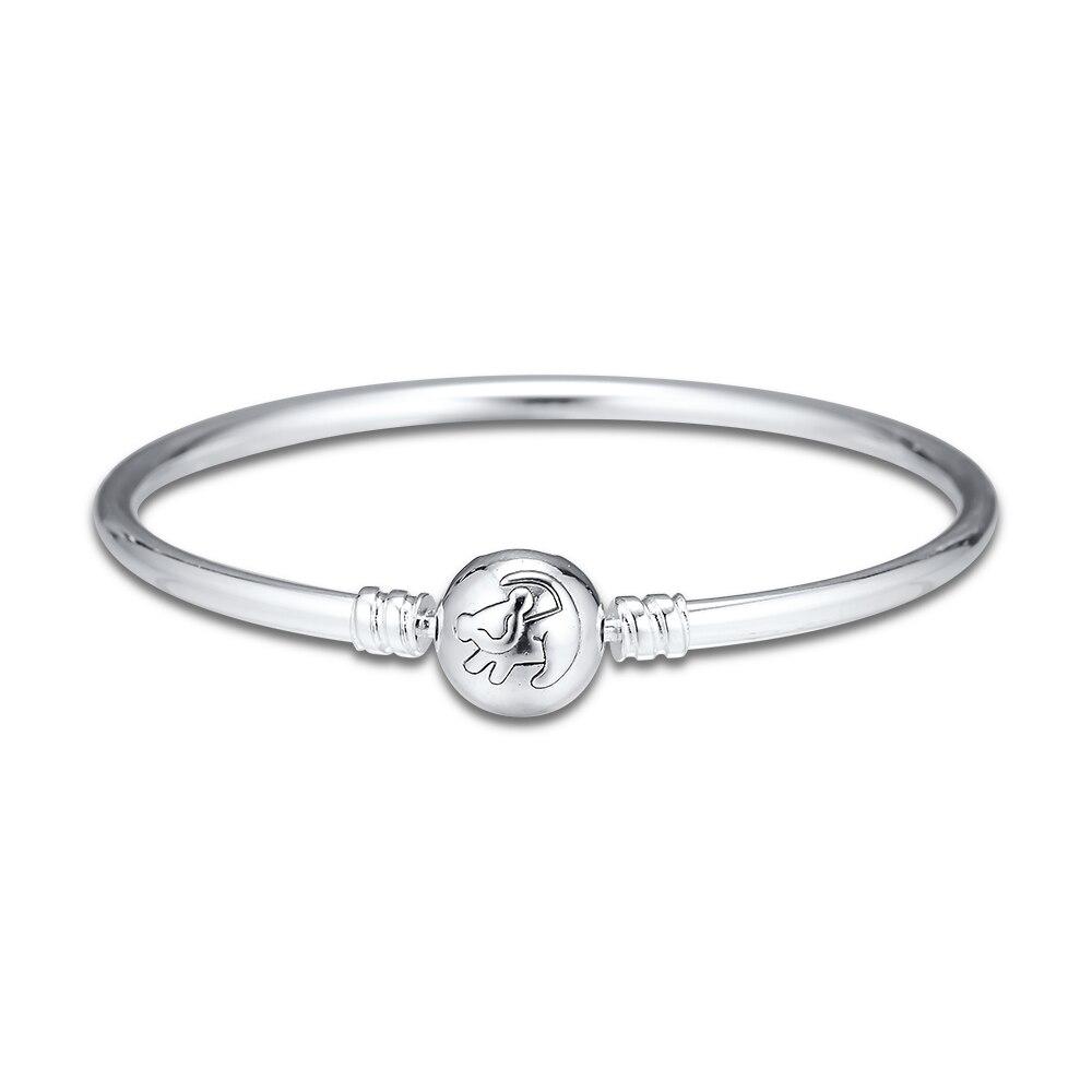 Pandulaso The Lion King Bangle Bracelet Fits Beads Sterling Silver Jewelry For Woman Fashion Make Up Fashion European Bracelet