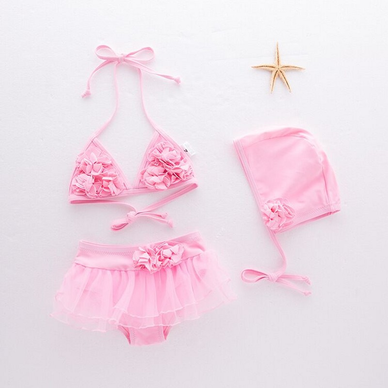 New ! Baby girls swimming suit summer pink floral swimwear+hat 2pcs set infant toddler kids Floral Bikini Suit